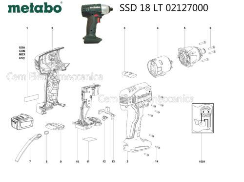 02127000 motore carcassa Ricambi originali per avvitatore METABO SSD 18 LT