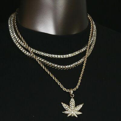 "14k Gold PT Rope Choker Chain 24/"" Link Fully Cz king Box Lucky Pendant"