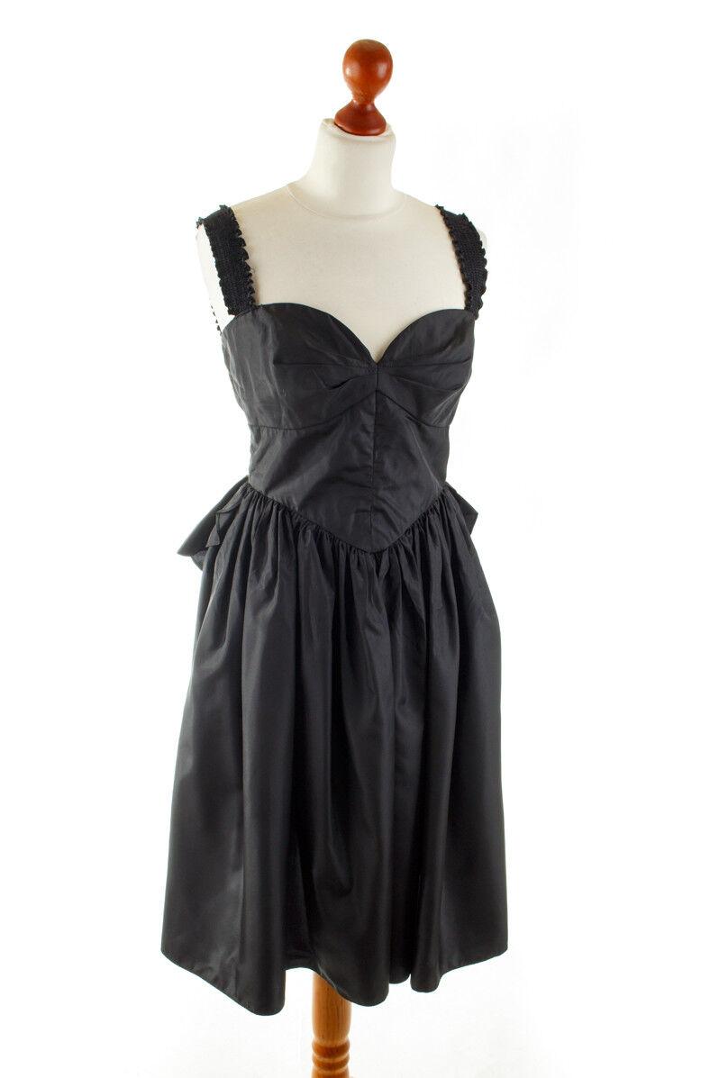 Vintage Abendkleid schwarz Taft Cocktailkleid Kleid 50s Rockabella S