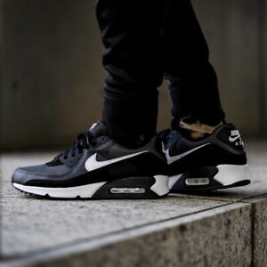Details about Nike Air Max 90 Mens Black White Grey Shoe Trainer Sneaker  All Sizes
