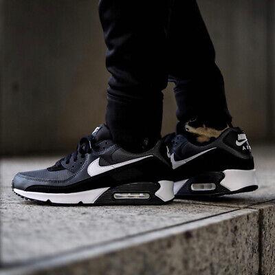 Nike Air Max 90 Hombre Negro Blanco Gris Zapatillas Zapatillas Todas las  Tallas | eBay