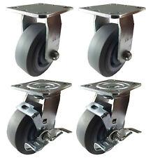 4 Set Caster 4 5 6 Non Marking Rubber Tread Plastic Rigid Swivel And Brake