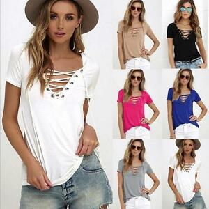New-Lady-Womens-Lace-up-V-Neck-Blouse-Casual-Loose-Long-Sleeve-Slim-T-Shirt-Tops