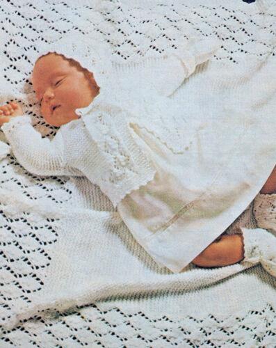 """matiné chaqueta Chal de bebé Vintage sombrero Tejer patrón 18/"""" pecho dk 139"""
