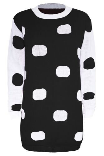 Womens Ladies Knit Polka Dot Long Contrast Sleeve Oversized Baggy Tunic Jumper