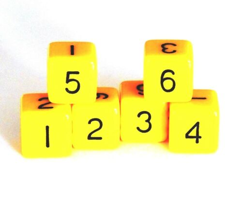 New Set of 6 Numbered D6 Six Sided Standard 16mm Dice Opaque Yellow