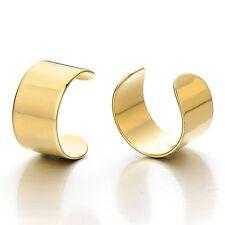 MENDINO Men's Women's Stainless Steel Earrings Simple Cuff Ear Clip-On Warp Punk