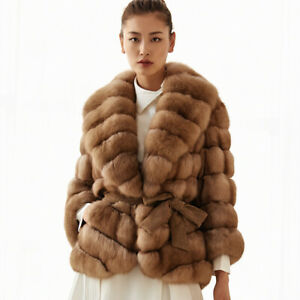 Top-Women-039-s-Full-Pelt-Sable-Color-Real-Fox-Fur-Coat-Lapel-Collar-Jacket-Overcoat