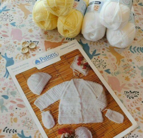 Kit De Tejer Cardigan de punto fácil su propio Bebé Sombrero /& Mitones lana agujas patrón