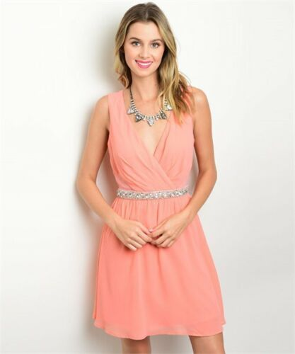 S THE CLOYHING COMPANY  Wrap Stone Embellishe Party Cocktail Dress L M