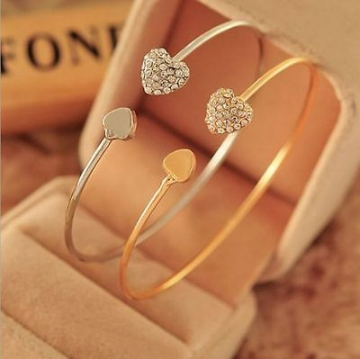Women Fashion Style Gold Rhinestone Love Heart Bangle Cuff Bracelet Jewelry