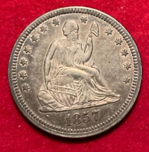 us seated Liberty 1857 quarter dollar in great shape