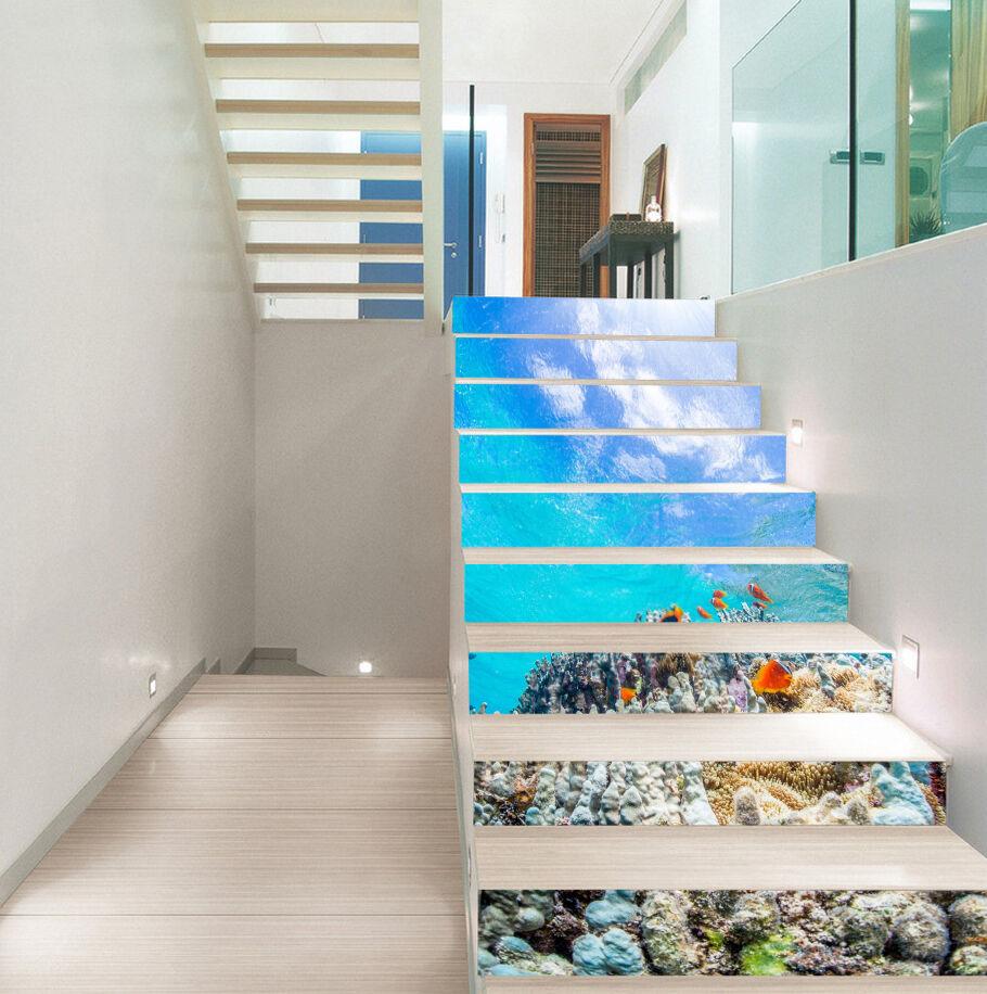 3D ocean bluee tropical Risers Decoration Photo Mural Vinyl Decal Wallpaper US12