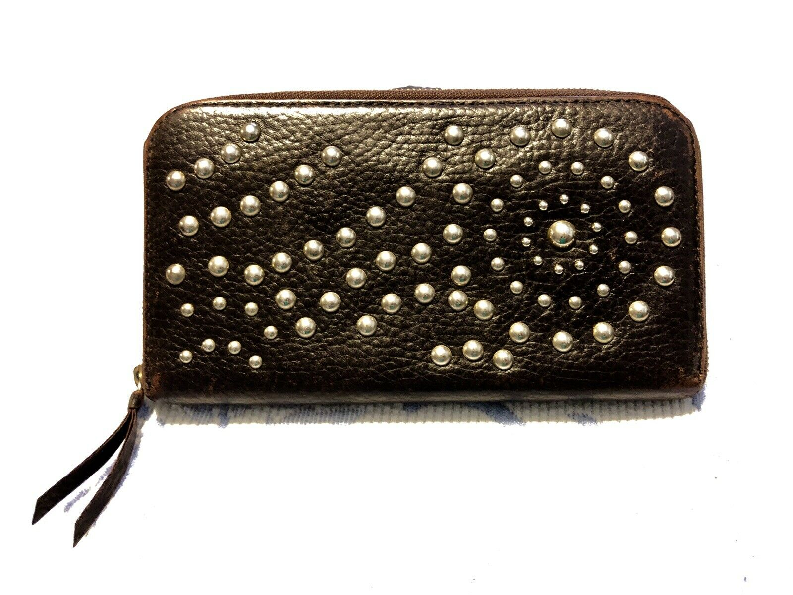 PAUL SMITH Wallet Zip Around BROWN Leather Clutch with Silver STUDS
