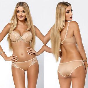 Ensemble lingerie femme beige soutien-gorge push-up et culotte ... 78c359b4c97