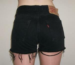 Classic-Levi-Vintage-High-Waisted-Black-501-Denim-Shorts-ButtonFly-8-10-12-14-16