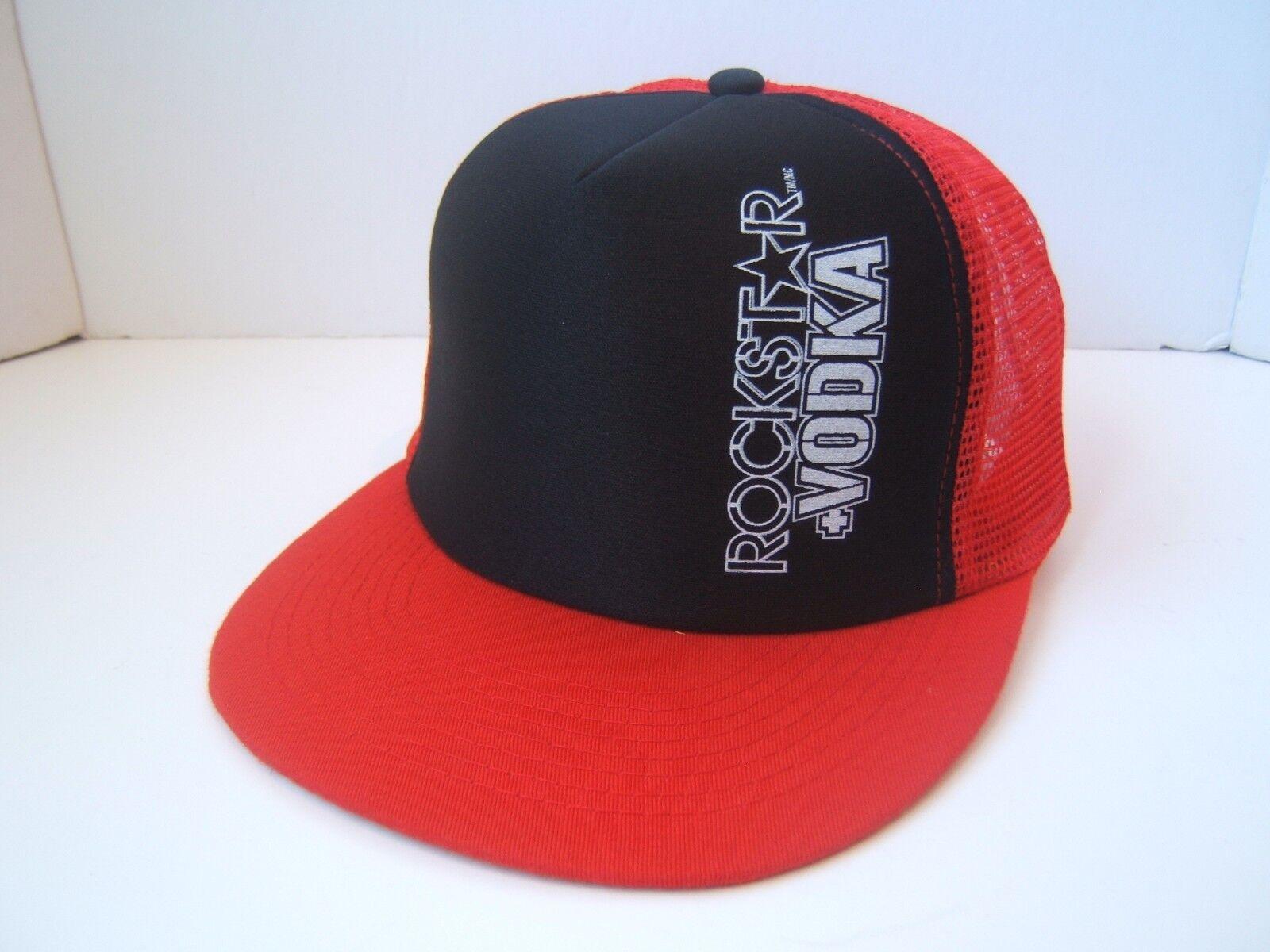 Rockstar Vodka Spell Out Trucker Hat Red Black Snapback Trucker Out Cap 926c58