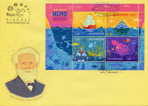 Hungary-2019-FDC-Jules-Verne-Captain-Nemo-4v-M-S-Cover-Boats-Sharks-Fish-Stamps
