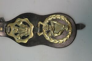 LEATHER-MOUNTED-ANTIQUE-VINTAGE-HORSE-BRASSES-military-3