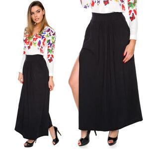 Womens Black Long A-line Skirt High Waist Loose Breathable One Side Split FS706
