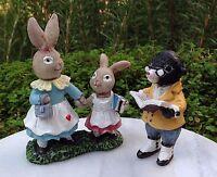 Miniature Dollhouse Fairy Garden Forest Friends Mom Rabbit & Bunny Mole School