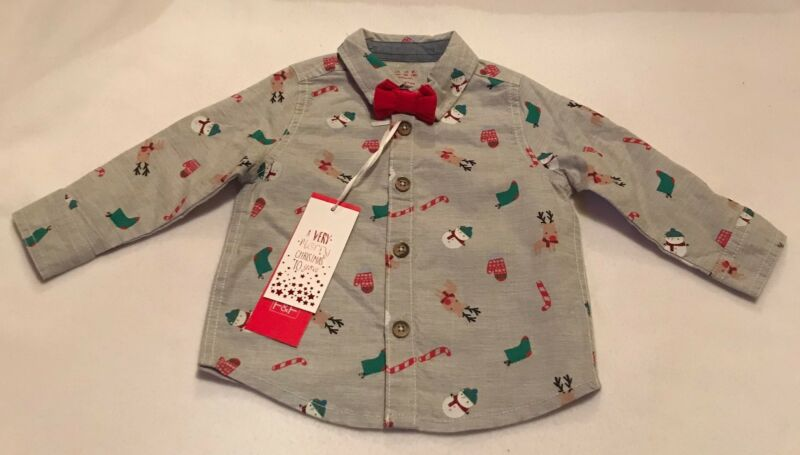 Camisa De Diseño De Navidad Con Corbata De Moño - 3-6 Meses-nuevo