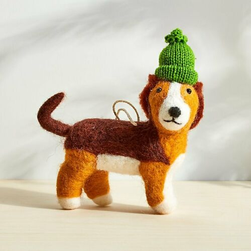 YOU CHOOSE Crate /& Barrel Boiled Wool Christmas Ornament Dog or Fox