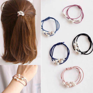 Korean-Style-5X-Women-Elastic-Ponytail-Holder-Pearl-Hair-Tie-Ring-Rope-Hair-Band