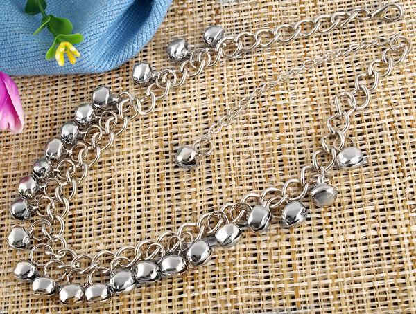 Ankle Bracelet Jingle Bell Pendant Silver Tone Anklet Chain 8mm Fashion Ladies