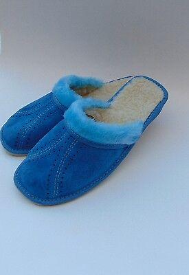 Azul señoras de cuero de gamuza Zapatillas Calienta * producto hecho a mano de la UE * Tamaño 6,7,8