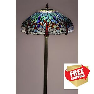 dragonfly floor lamp tiffany style handcrafted antique. Black Bedroom Furniture Sets. Home Design Ideas