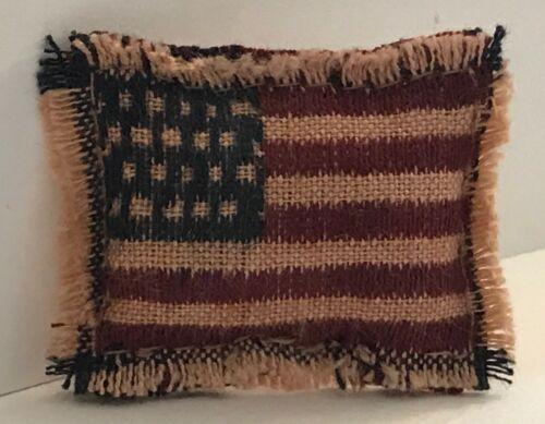 Mini Miniature Dollhouse USA Flag Homespun Patriotic Farmhouse Pillow Handmade