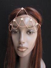 NEW WOMEN GOLD METAL HEAD CHAIN MULTI FOREHEAD BEADS FASHION JEWELRY HEADBAND