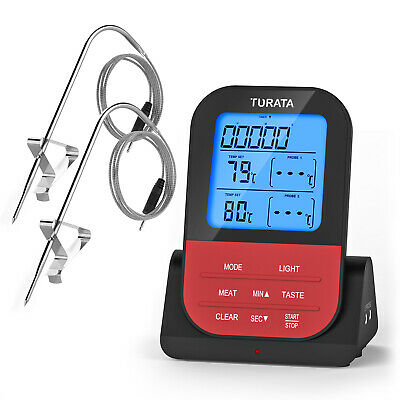 TURATA Digital-Grillthermometer Braten BBQ Thermometer LED Display Timerfunktion