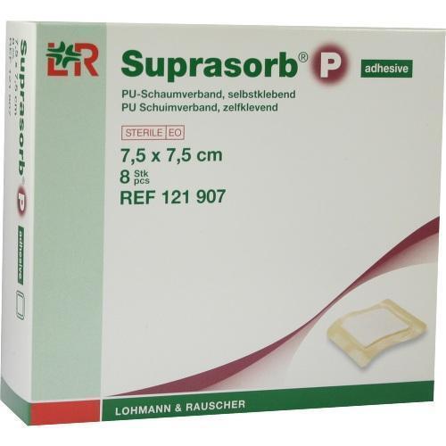 SUPRASORB P PU-Schaumv.7,5x7,5cm selbstklebend 8St Verband PZN 7402368