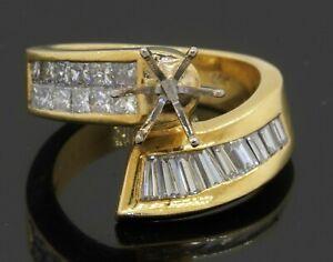 Heavy 18K gold amazing 2.22CTW VS1/F diamond ring semi-mounting size 6.5