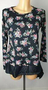 NEW-M-amp-S-Ladies-Black-Floral-Print-Tunic-Top-with-satin-Hem-Size-6-20
