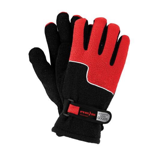 Winterhandschuhe Handschuhe Super Warm Fleecestoff Rot Schwarz Gr 10 NEU TOP