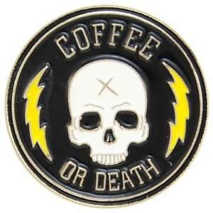 Coffee-Death-Enamel-Pin-Badge-Brooch-Skull-Rockabilly-Retro-Cafe-Aussie-Seller