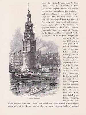 Amsterdam Turm Turmuhr Tower Holzstich Um 1880