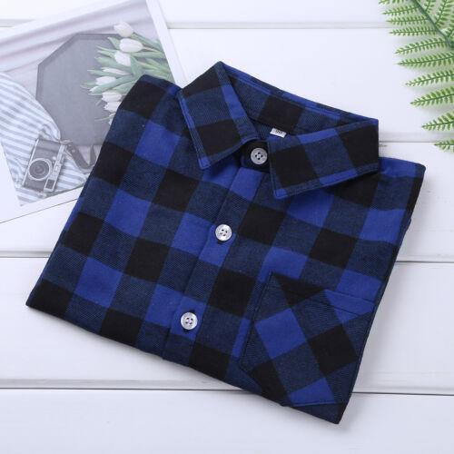 Unisex Kids Check Shirts Long Sleeves Plaid Cotton Formal-Casual Shirt Tops