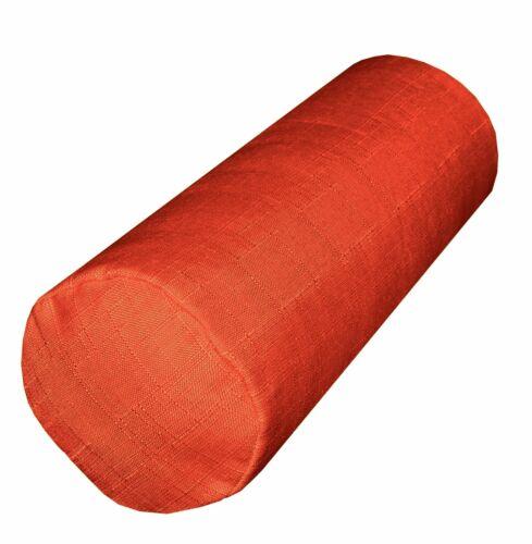 Qh19g Bright Orange Linen Cotton Blend Bolster Yoga Case Neck Roll Custom Size