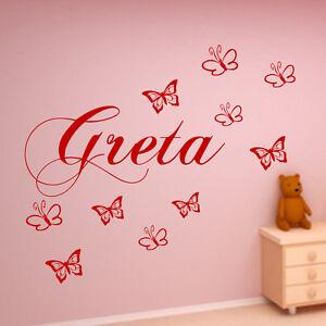 Details Zu Wandtattoo Kinderzimmer Personalisiert Schmetterlingen Aufkleber Baby Namen