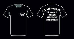 big sale f3c8d 55e41 Details zu T Shirts Firmen Arbeit Bau Vereine Clubs Name Adresse bedruckt  rund schwarz