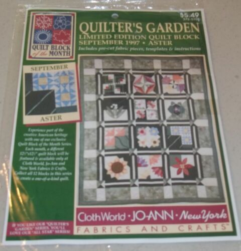 JoAnn Fabrics Quilt Block Of The Month   1997 Quilteru0027s Garden September  Aster