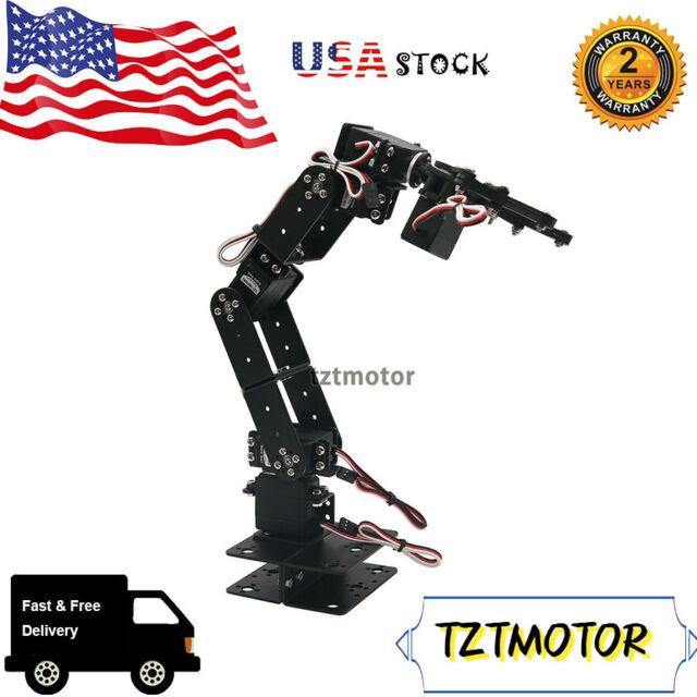 DIY Aluminium 6 DOF Mechanical Robotic Arm Clamp Claw Mount Robot Tool Kit #USA