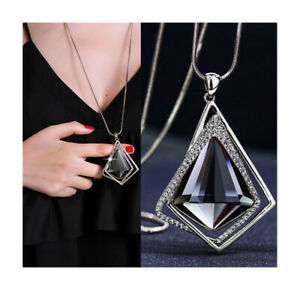 Nataliya Sparkly Crystal Long Sweater Chain Pendant Necklace