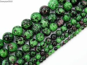 Natural-Ruby-In-Zoisite-Gemstone-Round-Beads-15-5-039-039-4mm-6mm-8mm-10mm-12mm-14mm