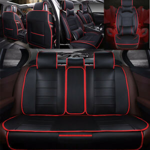 deluxe leather seat cover car full set cushion 5 seats interior black red new 7698739704387 ebay. Black Bedroom Furniture Sets. Home Design Ideas