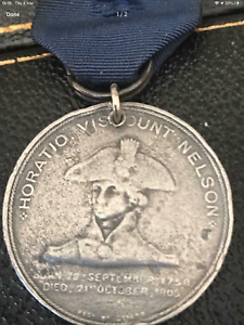 EXTREMELY SCARCE LORD NELSON MEDAL WITH ORIGINAL RIBBON
